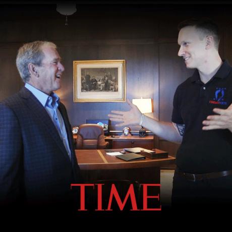 Veteran Richard Casper Meets Former President George Bush
